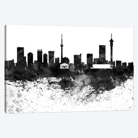 Johannesburg Black & White Drops Skyline Canvas Print #WDA1172} by WallDecorAddict Canvas Wall Art