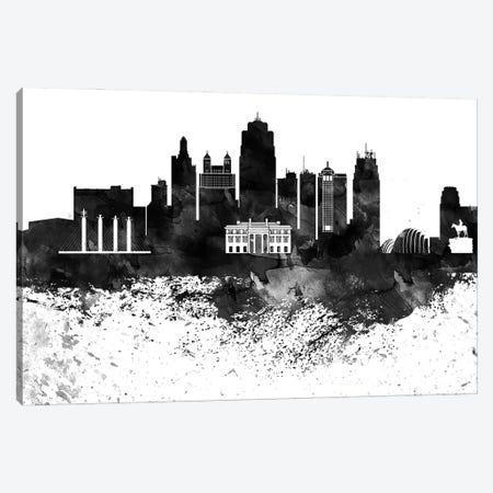 Kansas City Black & White Drops Skyline Canvas Print #WDA1173} by WallDecorAddict Canvas Artwork