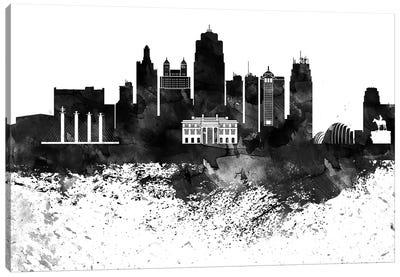 Kansas City Black & White Drops Skyline Canvas Art Print