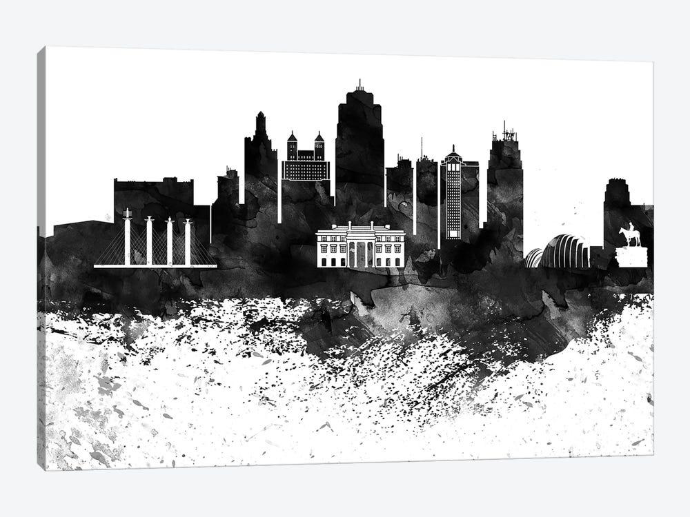 Kansas City Black & White Drops Skyline by WallDecorAddict 1-piece Art Print