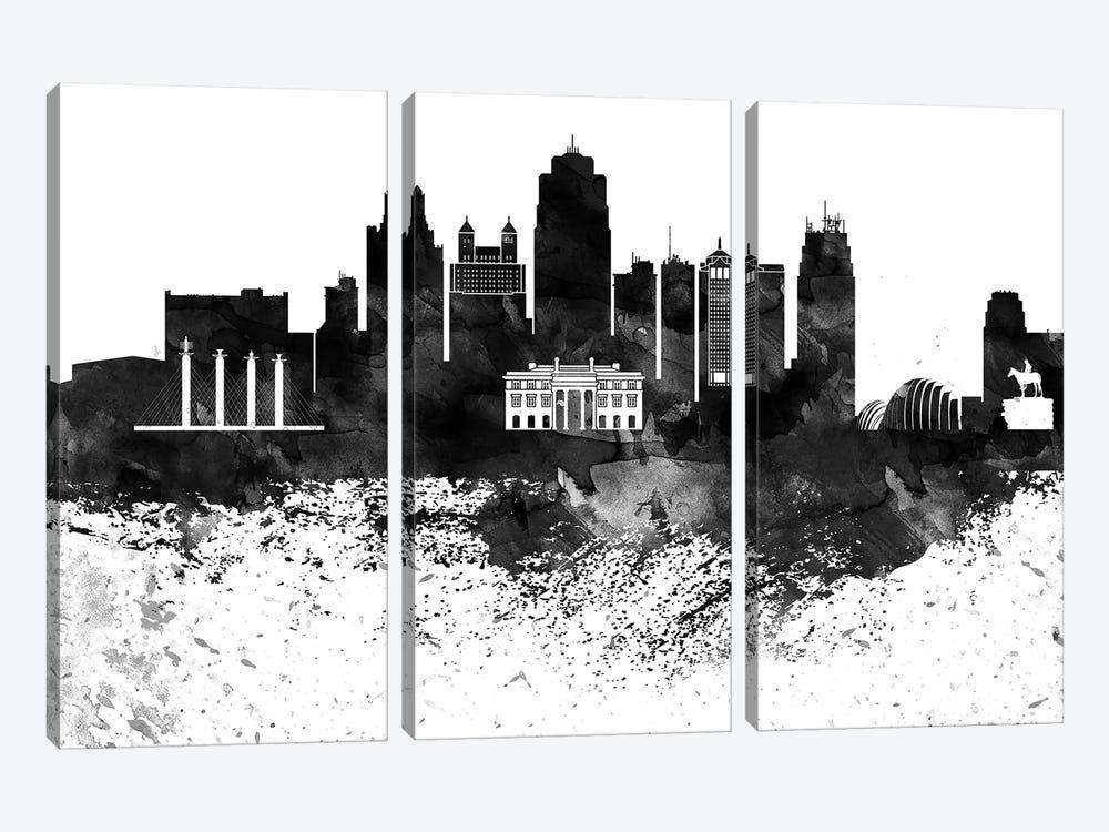 Kansas City Black & White Drops Skyline by WallDecorAddict 3-piece Art Print