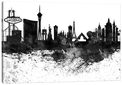 Las Vegas Black & White Drops Skyline Canvas Art Print