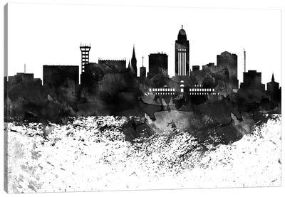 Lincoln Black & White Drops Skyline Canvas Art Print