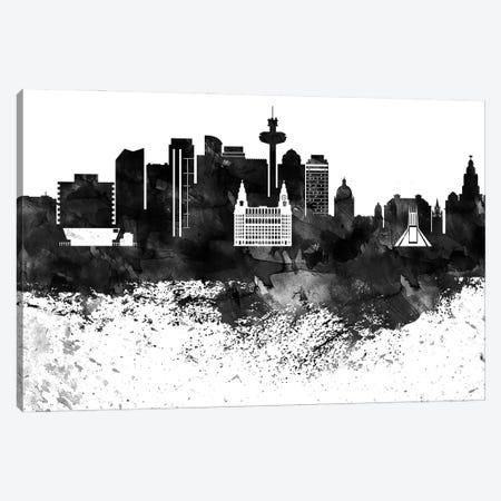 Liverpool Black & White Drops Skyline Canvas Print #WDA1180} by WallDecorAddict Canvas Print