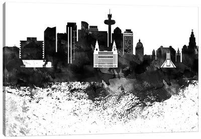 Liverpool Black & White Drops Skyline Canvas Art Print