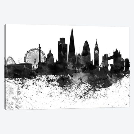 London Black & White Drops Skyline Canvas Print #WDA1181} by WallDecorAddict Canvas Art Print