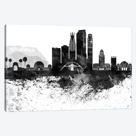 Los Angeles Black & White Drops Skyline Canvas Print #WDA1182} by WallDecorAddict Canvas Art Print