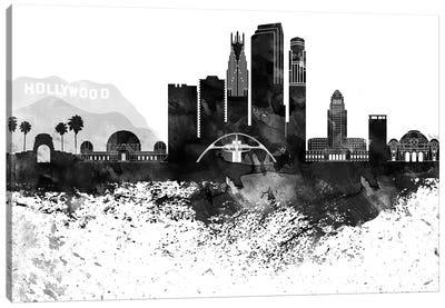 Los Angeles Black & White Drops Skyline Canvas Art Print