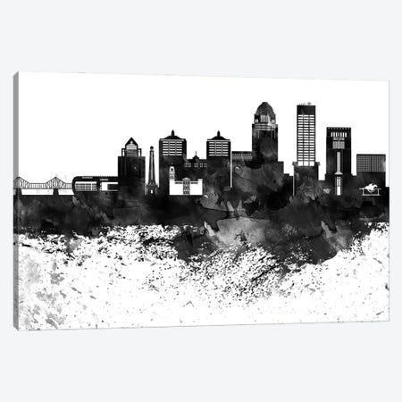 Louisville Black & White Drops Skyline Canvas Print #WDA1183} by WallDecorAddict Canvas Art Print