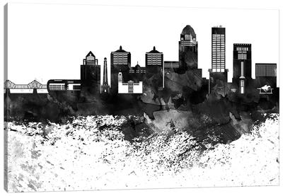 Louisville Black & White Drops Skyline Canvas Art Print