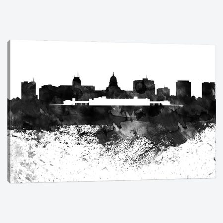 Madison Black & White Drops Skyline Canvas Print #WDA1185} by WallDecorAddict Canvas Wall Art