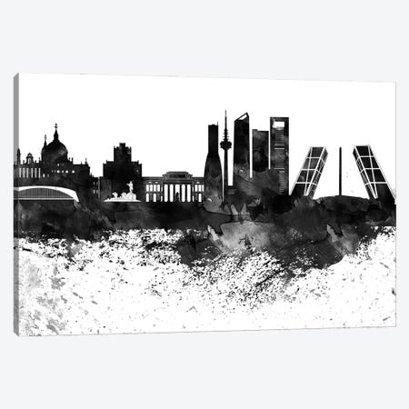 Madrid Black & White Drops Skyline Canvas Print #WDA1186} by WallDecorAddict Canvas Wall Art