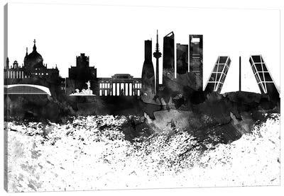 Madrid Black & White Drops Skyline Canvas Art Print