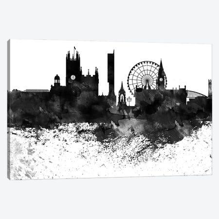 Manchester Black & White Drops Skyline Canvas Print #WDA1187} by WallDecorAddict Canvas Art