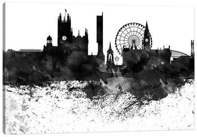 Manchester Black & White Drops Skyline Canvas Art Print