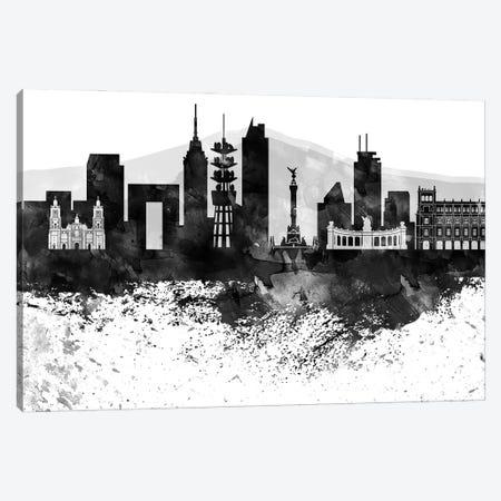 Mexico City Black & White Drops Skyline Canvas Print #WDA1191} by WallDecorAddict Canvas Artwork