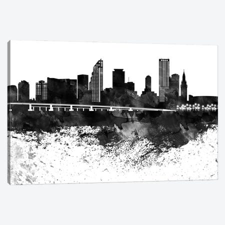 Miami Black & White Drops Skyline Canvas Print #WDA1192} by WallDecorAddict Canvas Artwork