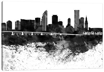 Miami Black & White Drops Skyline Canvas Art Print
