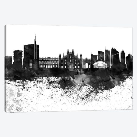 Milan Black & White Drops Skyline Canvas Print #WDA1193} by WallDecorAddict Canvas Wall Art