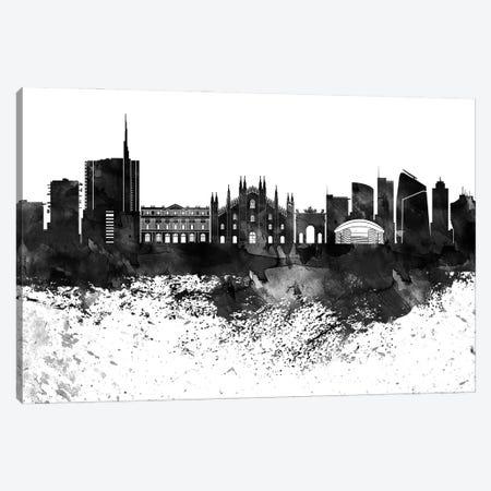 Milan Black & White Drops Skyline Canvas Print #WDA1193} by WallDecorAddict Canvas Wall Art