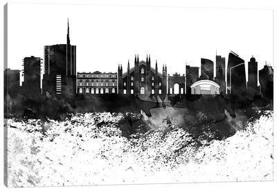 Milan Black & White Drops Skyline Canvas Art Print