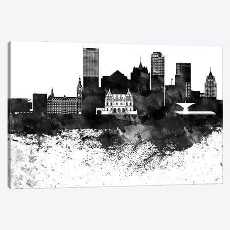 Milwaukee Black & White Drops Skyline Canvas Print #WDA1194} by WallDecorAddict Canvas Art Print