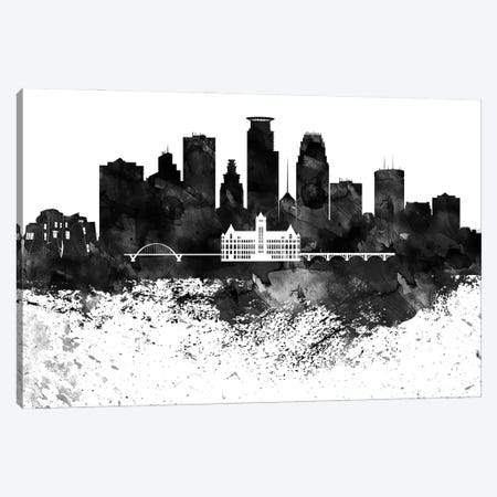Minneapolis Black & White Drops Skyline Canvas Print #WDA1195} by WallDecorAddict Canvas Art Print