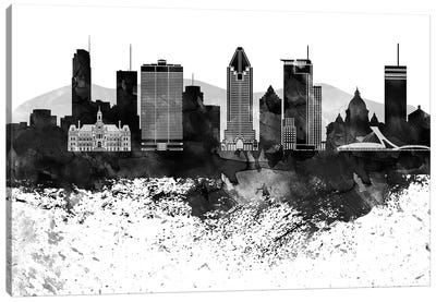 Montreal Black & White Drops Skyline Canvas Art Print