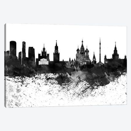 Moscow Black & White Drops Skyline Canvas Print #WDA1197} by WallDecorAddict Art Print