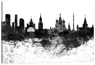 Moscow Black & White Drops Skyline Canvas Art Print