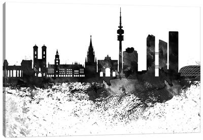 Munich Black & White Drops Skyline Canvas Art Print