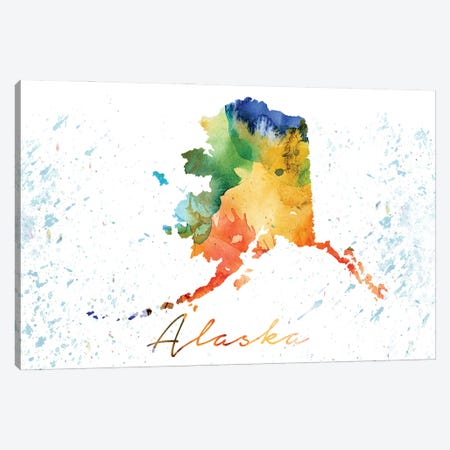 Alaska State Colorful Canvas Print #WDA11} by WallDecorAddict Canvas Wall Art