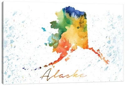 Alaska State Colorful Canvas Art Print