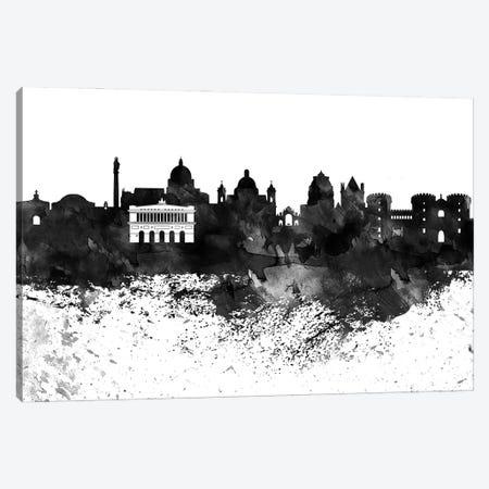 Naples Black & White Drops Skyline Canvas Print #WDA1200} by WallDecorAddict Canvas Artwork
