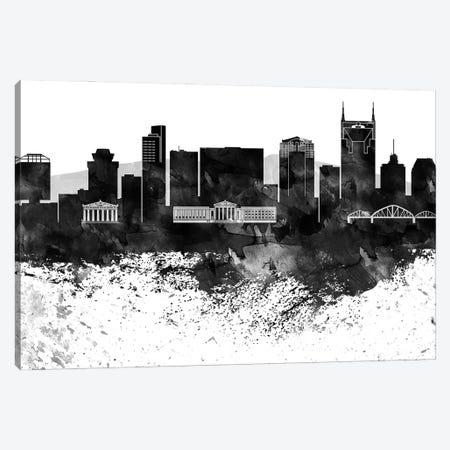 Nashville Black & White Drops Skyline Canvas Print #WDA1201} by WallDecorAddict Canvas Wall Art