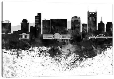 Nashville Black & White Drops Skyline Canvas Art Print