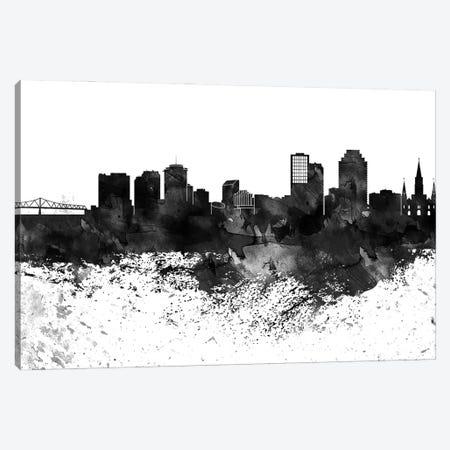New Orleans Black & White Drops Skyline Canvas Print #WDA1202} by WallDecorAddict Canvas Wall Art