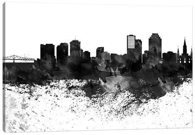 New Orleans Black & White Drops Skyline Canvas Art Print