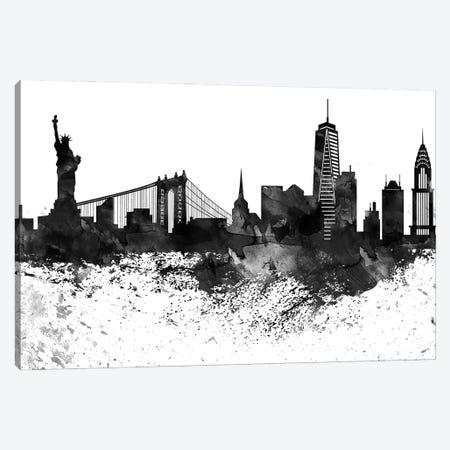 New York Black & White Drops Skyline Canvas Print #WDA1203} by WallDecorAddict Canvas Art
