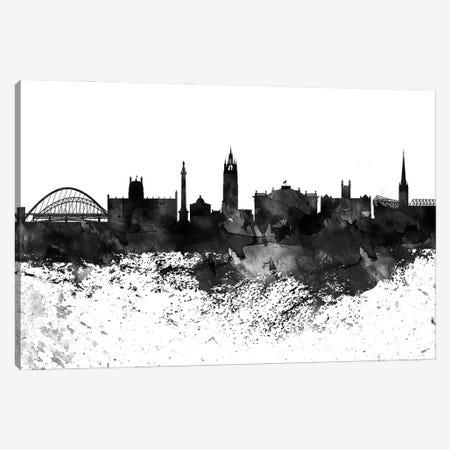 Newcastle Black & White Drops Skyline Canvas Print #WDA1204} by WallDecorAddict Canvas Print