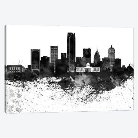 Oklahoma Black & White Drops Skyline Canvas Print #WDA1205} by WallDecorAddict Canvas Art Print