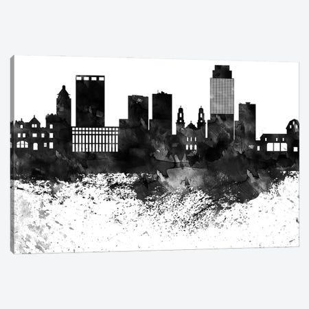 Omaha Black & White Drops Skyline Canvas Print #WDA1206} by WallDecorAddict Canvas Print