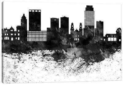 Omaha Black & White Drops Skyline Canvas Art Print