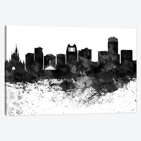 Orlando Black & White Drops Skyline Canvas Print #WDA1208} by WallDecorAddict Canvas Art