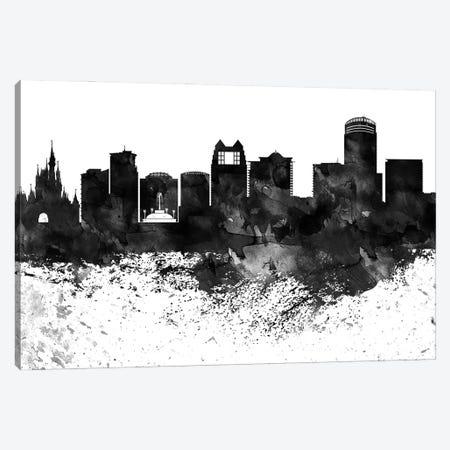 Orlando Black & White Drops Skyline Canvas Print #WDA1208} by WallDecorAddict Canvas Art