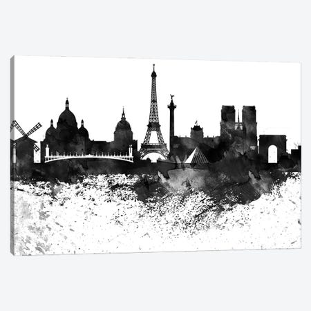 Paris Skyline Black & White Drops Canvas Print #WDA1212} by WallDecorAddict Canvas Print