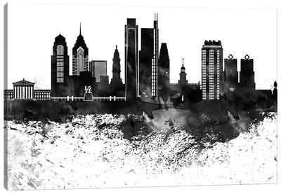 Philadelphia Skyline Black & White Drops Canvas Art Print