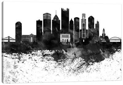 Pittsburgh Skyline Black & White Drops Canvas Art Print