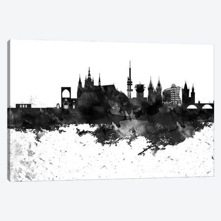 Prague Skyline Black & White Drops Canvas Print #WDA1218} by WallDecorAddict Art Print