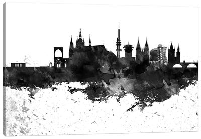 Prague Skyline Black & White Drops Canvas Art Print